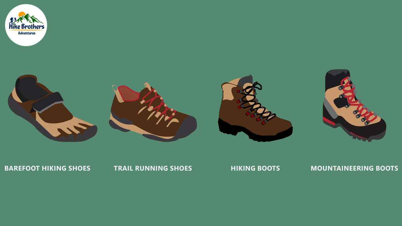 Different types of trekking shoes.