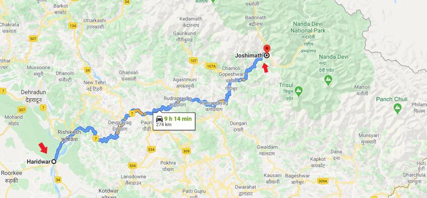 route to joshimath